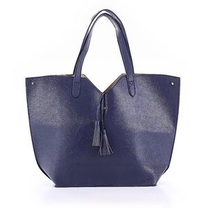 Neiman Marcus Navy Faux Leather Tote w/Tassels